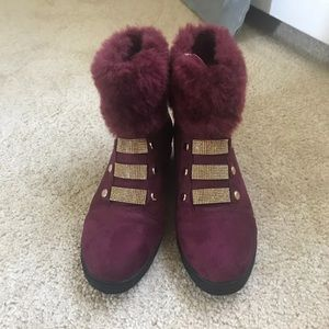 Gold and burgundy fur boots